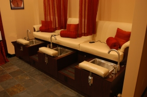 Pedicure baths with massage chairs