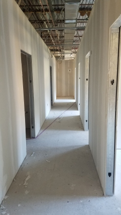 Sheetrock complete in the hallway