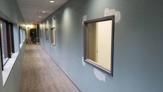 Interior corridor windows installed