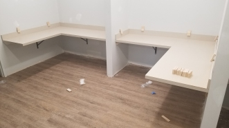 Worksurfaces installed