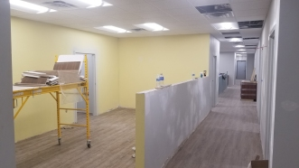 Flooring installed in future X-ray Waiting area