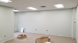 Ceiling tile installed in Treatment Room