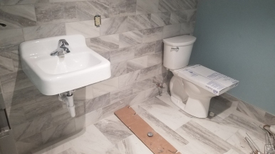 Restroom ceramic tile